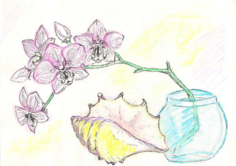 Watercolor painting - orchid