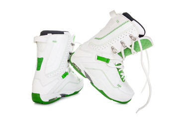 Snowboard boots on white background