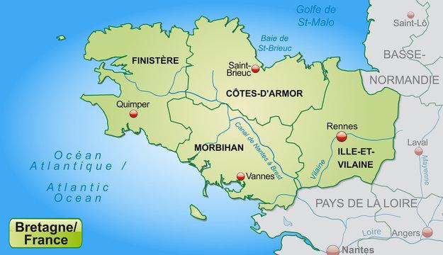 Karte der Bretagne mit Grenzen in Pastelgrün