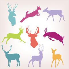 action deer silhouette set