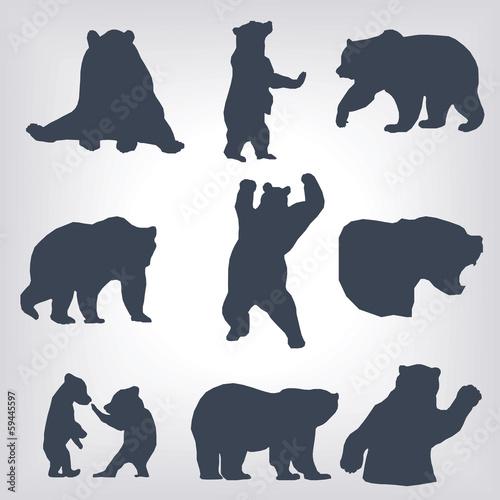 Силуэт стоящего на задних лапах медведя