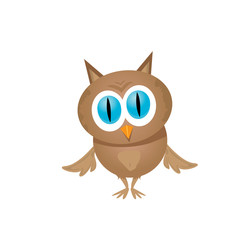 vector cartoon cute little owl bird isolated on white
