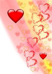 Karte verschiedene Herzen auf buntem Hintergrund