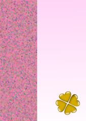 Karte rosa mit goldenem Kleeblattherzen
