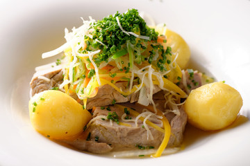 Cooked beef meat with potato and vegetables