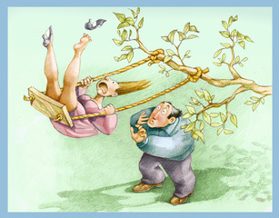 swing  couple in a park allegory of love relationship humor illustration