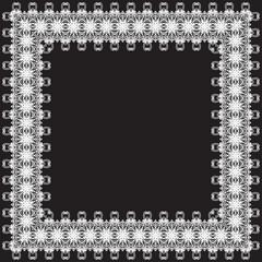 Christmas decorative square lace border, vector
