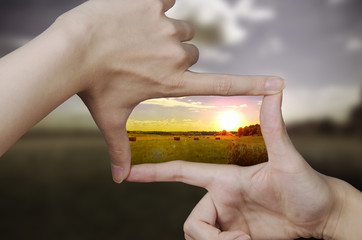 Fototapeta clear vision of a sunset obraz