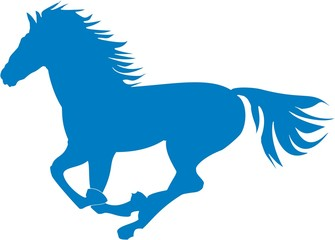 Vector illustration. Prancing blue horse