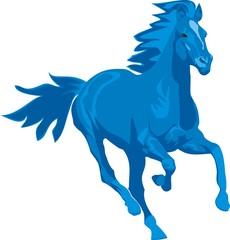 Vector illustration. Prancing blue horse