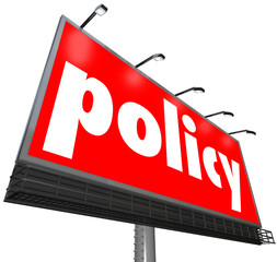 Fototapete - Policy Word Billboard Sign Following Rules Compiance Guidelines