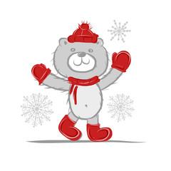 Funny santa bear for your design