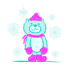 Funny santa bear for your design