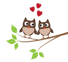 vector owls sitting in the tree with red hearts