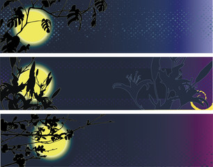 Banners with the moon and flowers