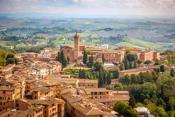 Wall Mural - Aerial view over city of Siena