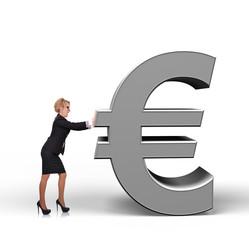 businesswoman holding euro