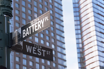 Battery place and West street Corner, New York City