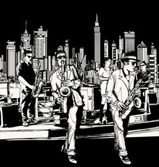 Wall Mural - Jazz band playing in New York