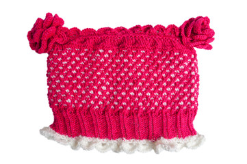 Red-white knitted hat with flowers on a white background