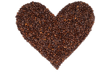 Heart made from coffee beans.