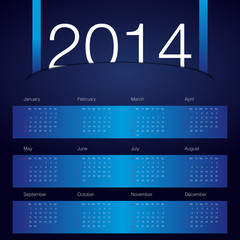 2014 year calendar blue background