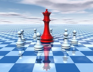 beautiful 3d abstraction with blue chessboard and chess queen