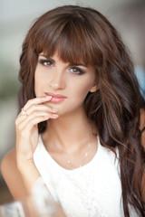 beautiful brunette smiling woman portrait lifestyle