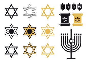 Jewish stars, religious icon set, vector