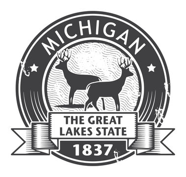 Grunge stamp or label with name of Michigan, vector illustration