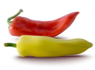 vector red and yellow peppers
