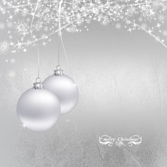 christmas decoration with beautiful ornament silver background