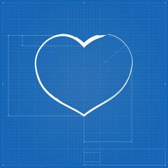 Heart symbol like blueprint drawing.