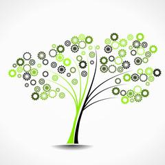Cogwheel tree abstract vector illustration background