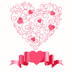 Valentine card design with paper heart