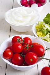 fresh and natural ingredients of a vegetarian diet and salads