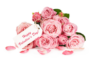 bouquet of pink roses with card