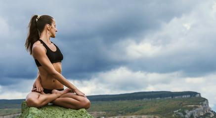 Yoga lotus twisted pose