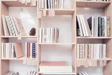 wood shelf with book