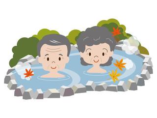 紅葉と露天風呂(シニア)