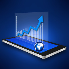 Business graph on smartphone,cell phone illustration