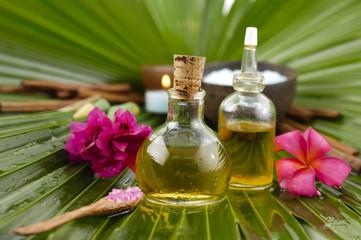 spa supplies with frangipani. image of tropical spa.