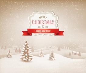 Christmas winter landscape background