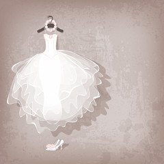 wedding dress on grungy background - vector illustration