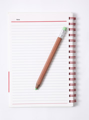Note book with pencil, isolated