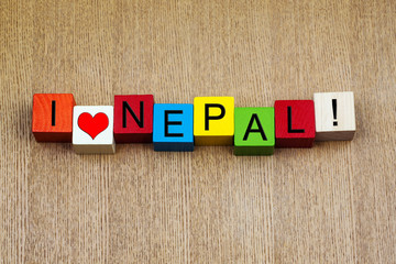 I Love Nepal, Asia, sign series for travel & holidays