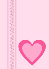 Karte rosa mit einem Herz