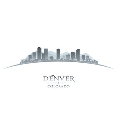 Denver Colorado city skyline silhouette white background