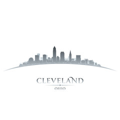 Wall Mural - Cleveland Ohio city skyline silhouette white background