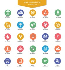 Navigator and map icons,Colorful version,vector